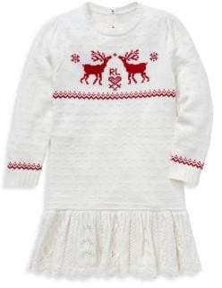 Ralph Lauren Little Girl's Reindeer Sweater Dress