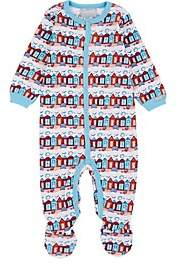 Cocolli COCOLLI INFANTS' BEACH-HUT-PRINT COTTON FOOTED PLAYSUIT