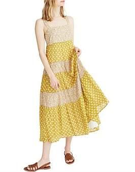 Madewell Tiered Tie Back Midi Dress
