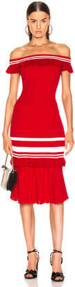 Jonathan Simkhai for FWRD Off the Shoulder Knit Dress in Red & White | FWRD