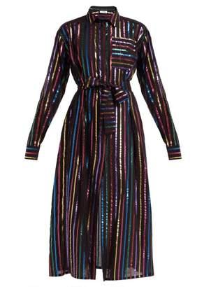 ATTICO The Metallic Striped Fil Coupe Shirtdress - Womens - Black Multi