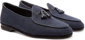 Rubinacci - Marphy Leather and Suede-Trimmed Herringbone Linen Tasselled Loafers - Men - Blue