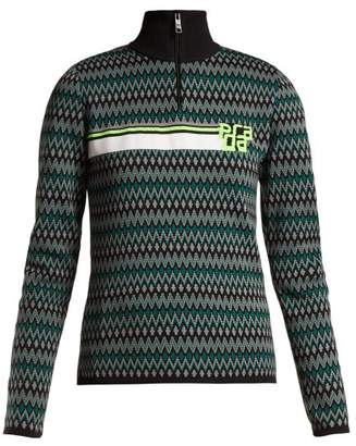 Prada Geometric Intarsia Knit Half Zip Sweater - Womens - Blue Multi