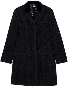 Thom Browne Velvet-Trimmed Broderie Anglaise Wool Jacket