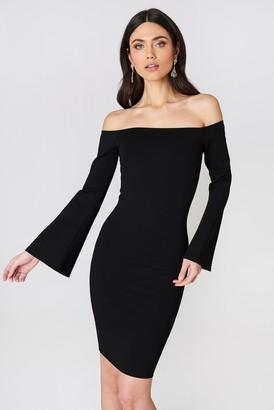 Na Kd Party Offshoulder Trumpet Sleeve Dress Black