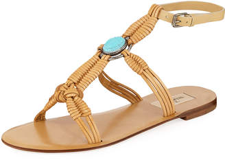 Valentino Braided Leather Ankle-Strap Sandals