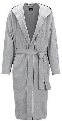 590913eafc HUGO BOSS Hooded dressing gown in heavyweight jersey with contrast piping