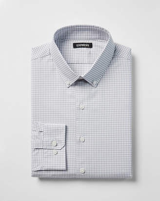 Express Slim Check Pattern Button-Down Cotton Dress Shirt