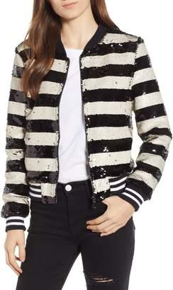 Vigoss Sequin Stripe Bomber Jacket