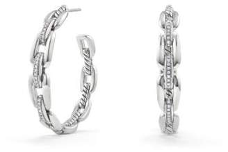 David Yurman Wellesley Link Hoop Earrings With Diamonds, 34.5Mm