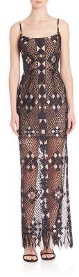 BCBGMAXAZRIA Evelina Geometric Lace Gown $468 thestylecure.com