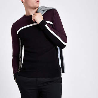 River Island Burgundy slim fit color block stripe sweater