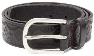 Paul Smith Geometric Debossed Leather Belt - Mens - Black