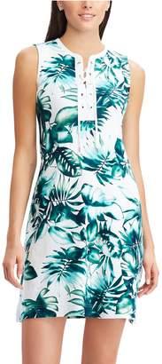 Chaps Women's Tropical Leaf Lace-Up A-Line Dress