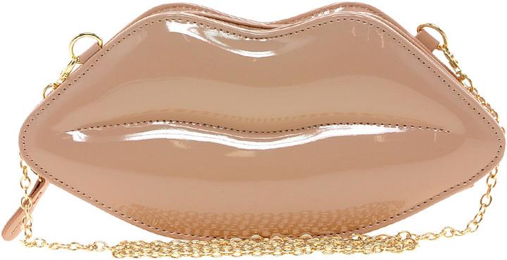 Aldo Chevez Lips Patent Clutch Bag