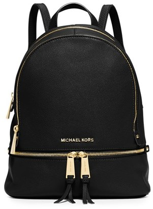 Michael Michael Kors 'Extra Small Rhea Zip' Leather Backpack - Black $298 thestylecure.com