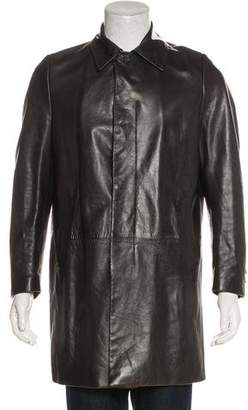 Helmut Lang Vintage Leather Notched-Lapel Overcoat