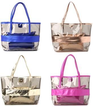 4e39caed9c clear Bduco Women Waterproof Transparent Shopping Bags Jelly Beach Handbag  Shoulder Bag Top-Handle Satchel