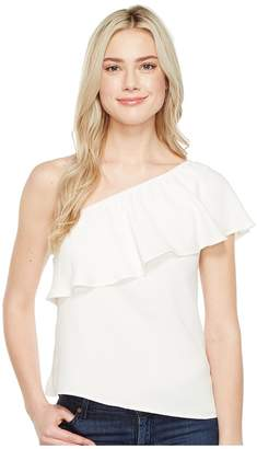 7 For All Mankind One Shoulder Ruffle Top Women's Clothing