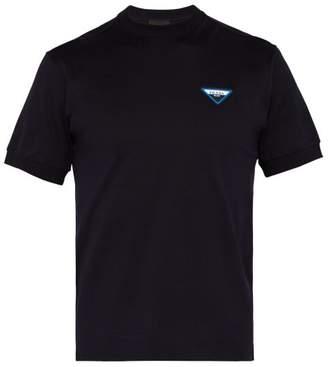 Prada Logo Patch Cotton T Shirt - Mens - Navy