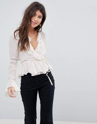 Asos Design Wrap Top With Ruffle And Lace Insert