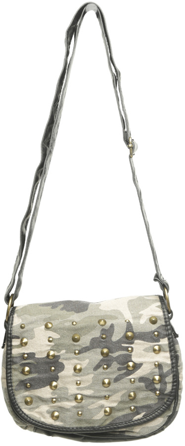 Wet Seal Sudded Camouflage Crossbody Bag