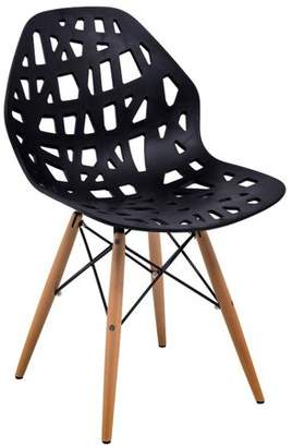 Mid-Century MODERN LeisureMod Akron Dining Side Chair With Wood Dowel Legs in Black