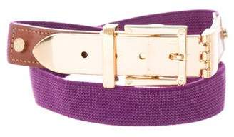 Tory Burch Leather-Trimmed Elasticized Belt