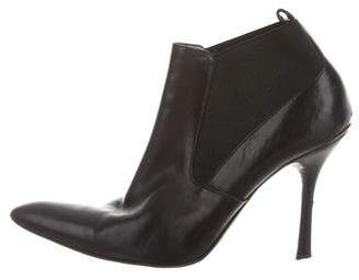 Donna Karan Leather Pointed-Toe Ankle Boots