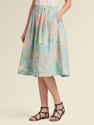 DKNY Marble-Print Poplin Pleated Skirt