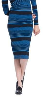 Plenty by Tracy Reese Variated Stripe Knit Skinny Knee-Length Skirt
