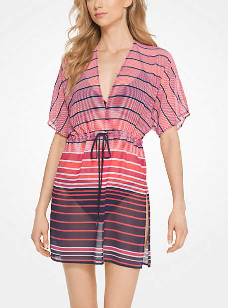 Michael Kors Striped Drawstring Cover-Up