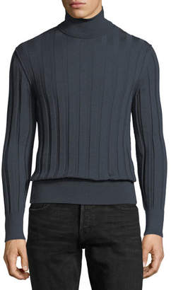 Tom Ford Cashmere-Silk Ribbed Turtleneck Sweater, Slate