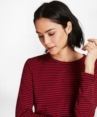 Brooks Brothers Ruffle-Cuff Striped Jersey Long-Sleeve T-Shirt