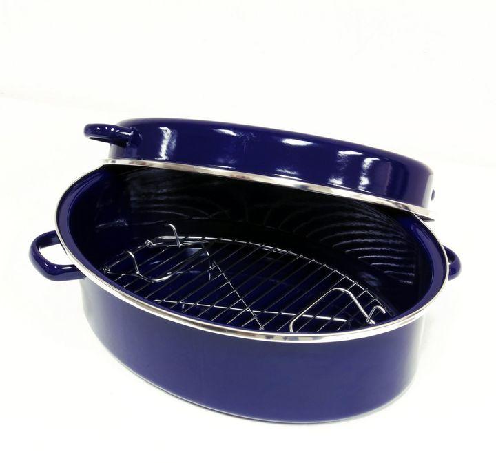 ChantalChantal® 11 qt. Enamel-on-Steel Roaster with Stainless Steel Rack in Blue