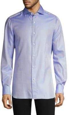 Isaia Solid Basket Weave Long Sleeve Shirt