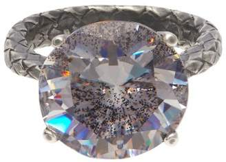 Bottega Veneta Cubic Zirconia And Silver Intrecciato Ring - Womens - Silver