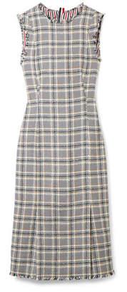 Thom Browne Frayed Cotton-blend Tweed Dress - Navy