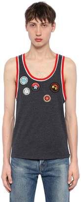 Saint Laurent Patches Cotton Jersey Tank Top