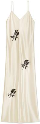 Embroidered Satin Slip Dress