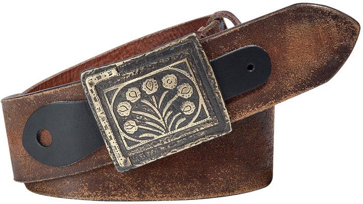Ralph Lauren Blue Label Dark Brown Distressed Leather Belt