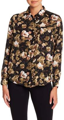 Philosophy Apparel Floral Patterned Long Sleeve Button Down Blouse