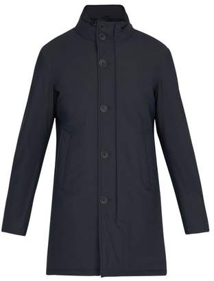 Herno Stand Collar Single Breasted Coat - Mens - Navy
