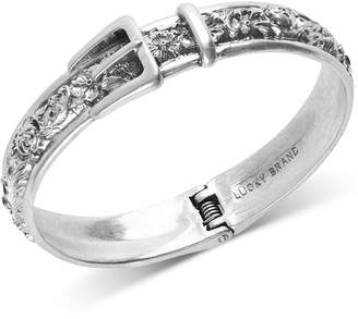 Lucky Brand Silver-Tone Floral-Etched Buckle Bangle Bracelet