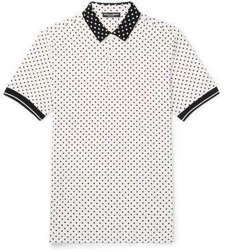 Polka-Dot Cotton-Piqué Polo Shirt