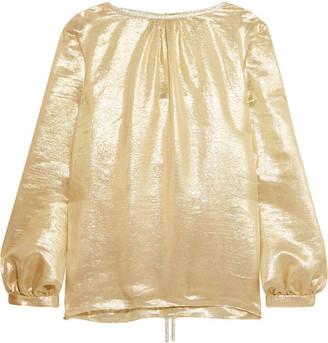Oscar de la Renta - Silk-blend Lamé Blouse - Gold $1,690 thestylecure.com