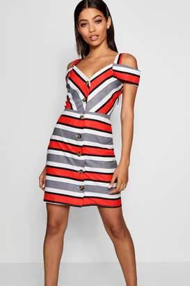boohoo Stripe Cold Shoulder Summer Dress