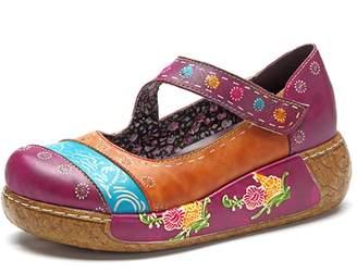 Socofy Women's Wedge Sandals, Ladies Comfort Slip On Platform Moccasin Retro Flower Anckle Strap Shoes Wine Red