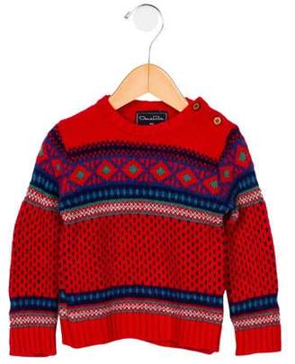 Oscar de la Renta Boys' Virgin Wool Patterned Sweater