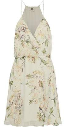 Haute Hippie Camelia Wrap-effect Floral-print Silk Crepe De Chine Dress
